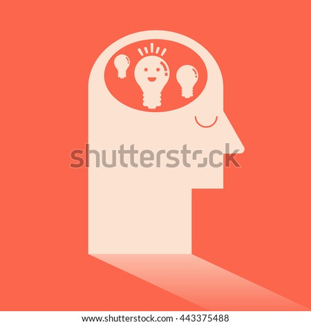 Light bulb in brain like Ideas and Imagination. Flat design for business financial marketing banking advertising commercial background minimal vector concept cartoon illustration. - stock vector