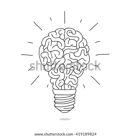 Light bulb in the form of a brain. Vector illustration on white background. - stock vector