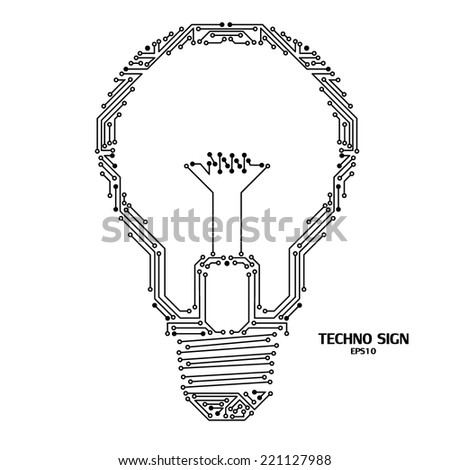 light bulb isolated on white background with circuit board pattern - stock vector