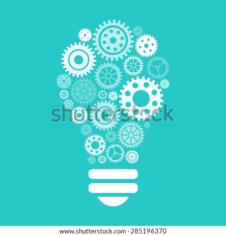 Light bulb of gears and cogs. Vector illustration - stock vector