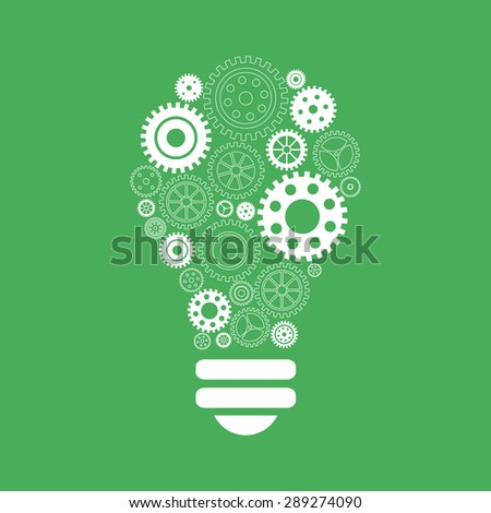 Light bulb of gears and cogs. Vectori illustration - stock vector