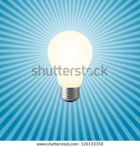 Light bulb on a blue background - stock vector