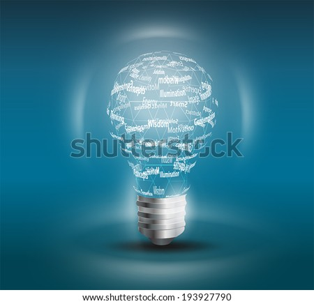 Light bulb on black background with copy text