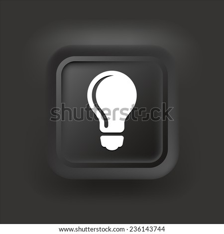 vector square blue icon lighting bulb. light bulb on black square button vector blue icon lighting