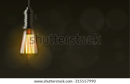 light bulb on dark vector background with copy space - stock vector
