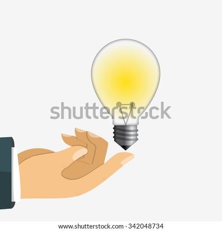 Light Bulb on finger - stock vector