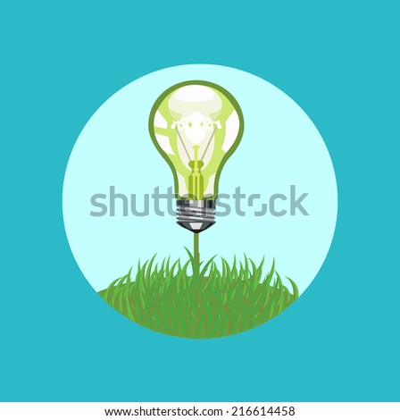 light bulb on grass flat design vector