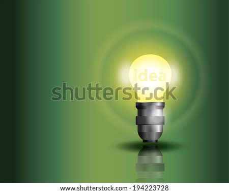 Light bulb on green background with copy text