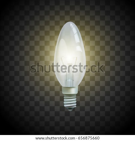 Light bulb on transparent background. Isolated realistic lamp. Illustration of idea or concept. Vector image.