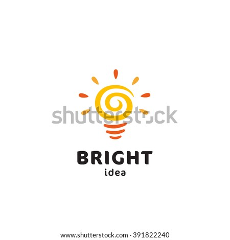 Light Bulb Original Simple Minimal Symbol Containing Sun Image. Memorable Visual Metaphor. Represents Concept of Creativity, Genesis & Development of Bright Ideas, Eureka, Effective Thinking etc. - stock vector