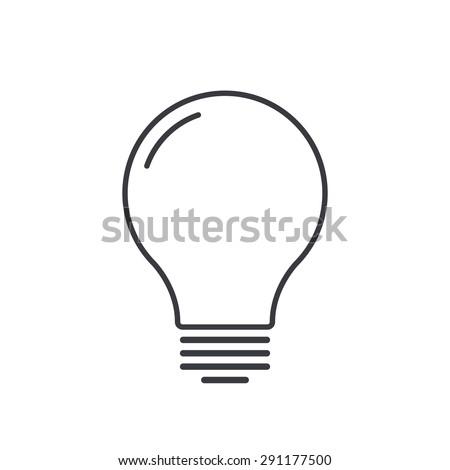Light bulb outline icon, modern minimal flat design style, thin line vector illustration - stock vector
