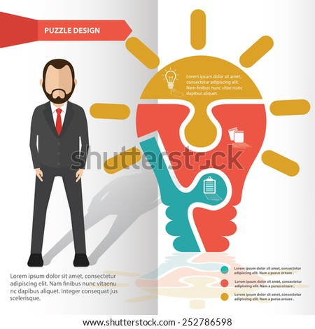 Light bulb puzzle info graphic design and character,clean vector - stock vector