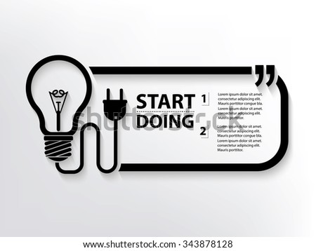 Light bulb Quotation Mark Speech Bubble,design - stock vector