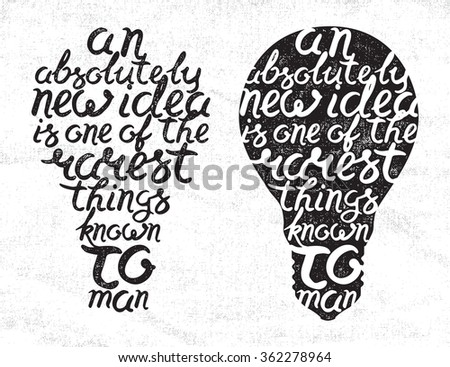 Light bulb shape inspirational handwritten lettering quote from Sir Thomas More on white canvas background - stock vector