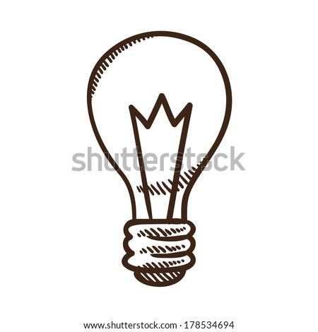 Light bulb. Sketch symbol isolated on white. - stock vector
