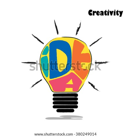 Light bulb sketch with concept of idea. Doodle hand drawn sign.Education and learning concept. Vector Illustration - stock vector