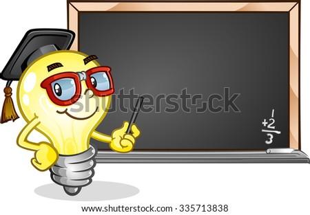 Light Bulb Teacher in a Classroom Cartoon Character - stock vector