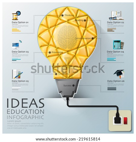Light Bulb Three Dimension Polygon Idea And Education Infographic Design Template - stock vector
