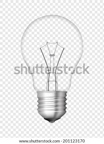 Light bulb, transparent bulb design. Realistic vector illustration.  - stock vector