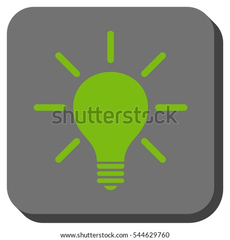 Light Bulb vector icon. Image style is a flat icon symbol in a rounded square button, light green and gray colors.