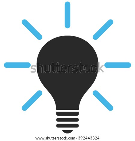 Light Bulb vector icon. Image style is bicolor flat light bulb pictogram drawn with blue and gray colors on a white background.