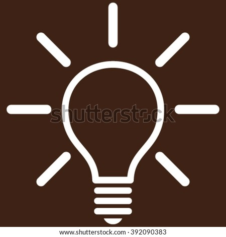 Light Bulb vector icon. Image style is flat light bulb pictogram symbol drawn with white color on a brown background.