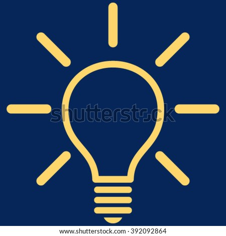 Light Bulb vector icon. Image style is flat light bulb pictogram symbol drawn with yellow color on a blue background.