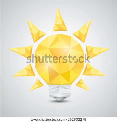 Light bulb vector icon low poly style. Idea icon origami style on white