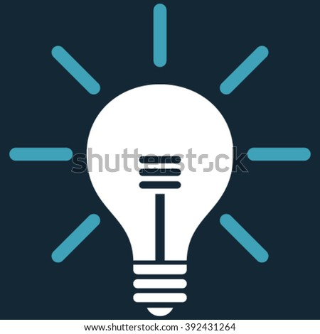 Light Bulb vector icon. Picture style is bicolor flat light bulb icon drawn with blue and white colors on a dark blue background.