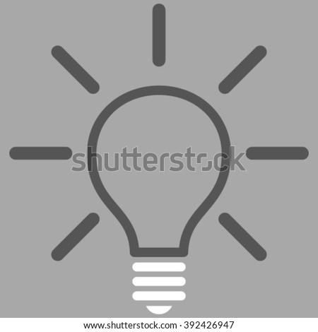Light Bulb vector icon. Picture style is bicolor flat light bulb icon drawn with dark gray and white colors on a silver background.