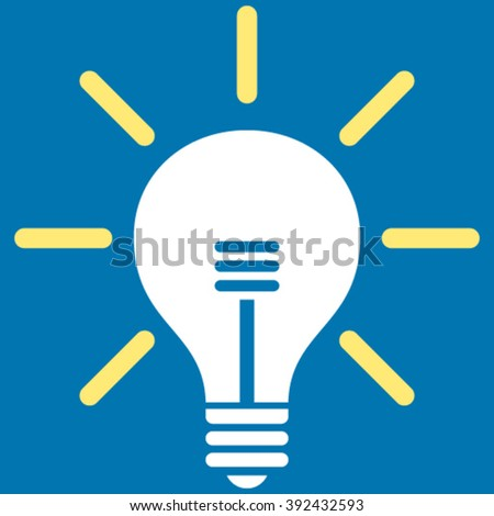 Light Bulb vector icon. Picture style is bicolor flat light bulb icon drawn with yellow and white colors on a blue background.