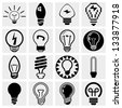 Light bulb vector icon set. - stock photo