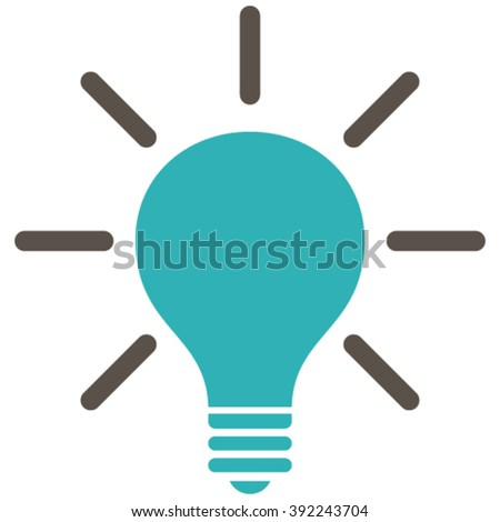 Light Bulb vector icon. Style is bicolor flat icon symbol, grey and cyan colors, white background.