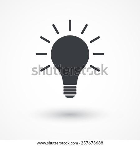 Light bulb vector idea icon. - stock vector