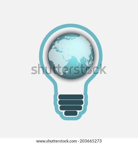 light bulb with a world globe. Conceptual illustration