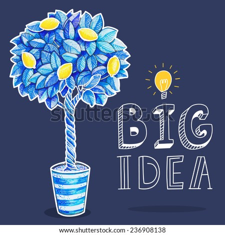 Light bulb with big idea text in hand drawn doodle cartoon style with lemon tree for your creative business.Vector illustration - stock vector
