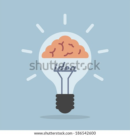 Light bulb with brain, Idea concept, VECTOR, EPS10