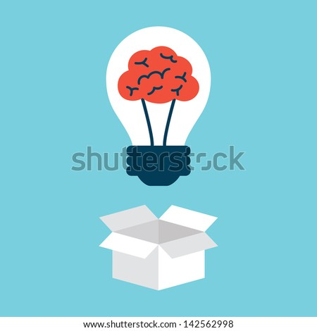 Light bulb with brain, thinking outside the box - stock vector