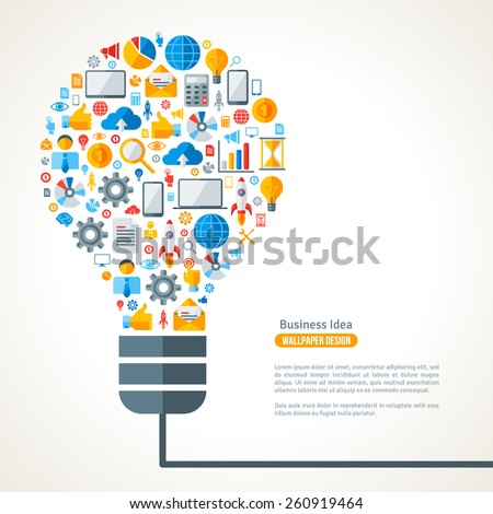 Light Bulb with Business Icons Pattern. Vector Illustration. Business Idea Creative Concept. Idea Abstract Infographics Template. - stock vector
