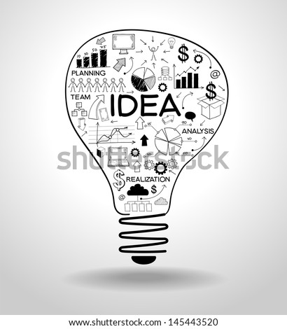 light bulb with drawing icons modern business concept.  File stored in version AI10 EPS. This image contains transparency. - stock vector