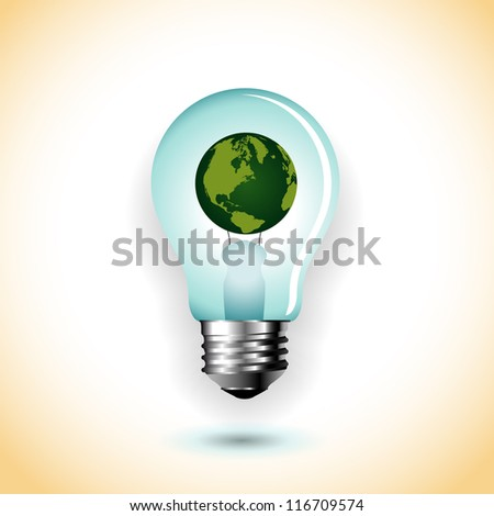 Light bulb with earth - abstract vector art illustration