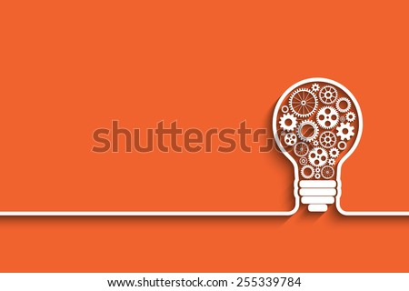 light bulb with gears and cogs working together. Eps10 vector background for your design - stock vector