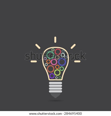 light bulb with gears inside - stock vector