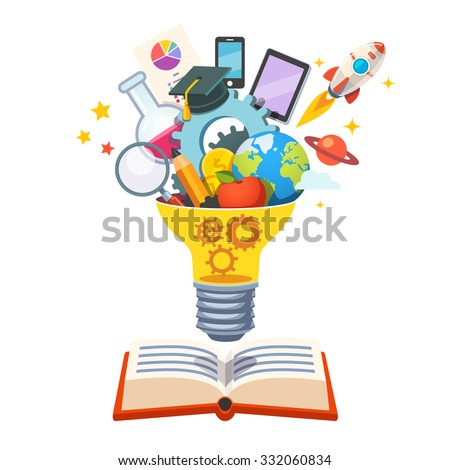 Light bulb with gears inside floating over big book bursting with new ideas. Education concept. Flat style vector illustration isolated on white background. - stock vector