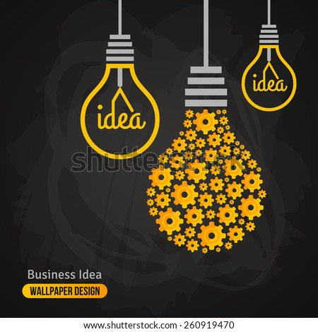 Light Bulb with Gears Pattern on Blackboard Background. Vector Illustration. Business Idea Creative Concept. Idea Abstract Infographics Template. Chalk Texture. - stock vector