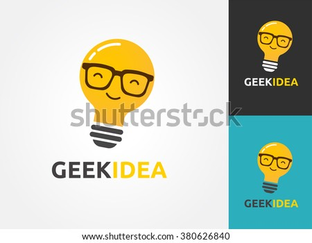 Light bulb with geek glasses - idea, creative, technology icons - stock vector