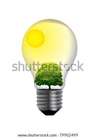 light bulb with green world inside - stock vector