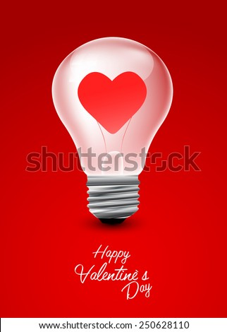 Light bulb with heart valentine Day background - stock vector