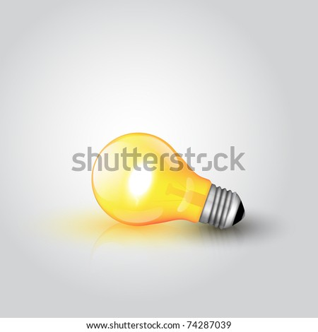 Light Bulb with high detail and reflection - stock vector