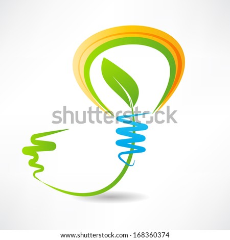 light bulb with leaf inside. design element icon - stock vector